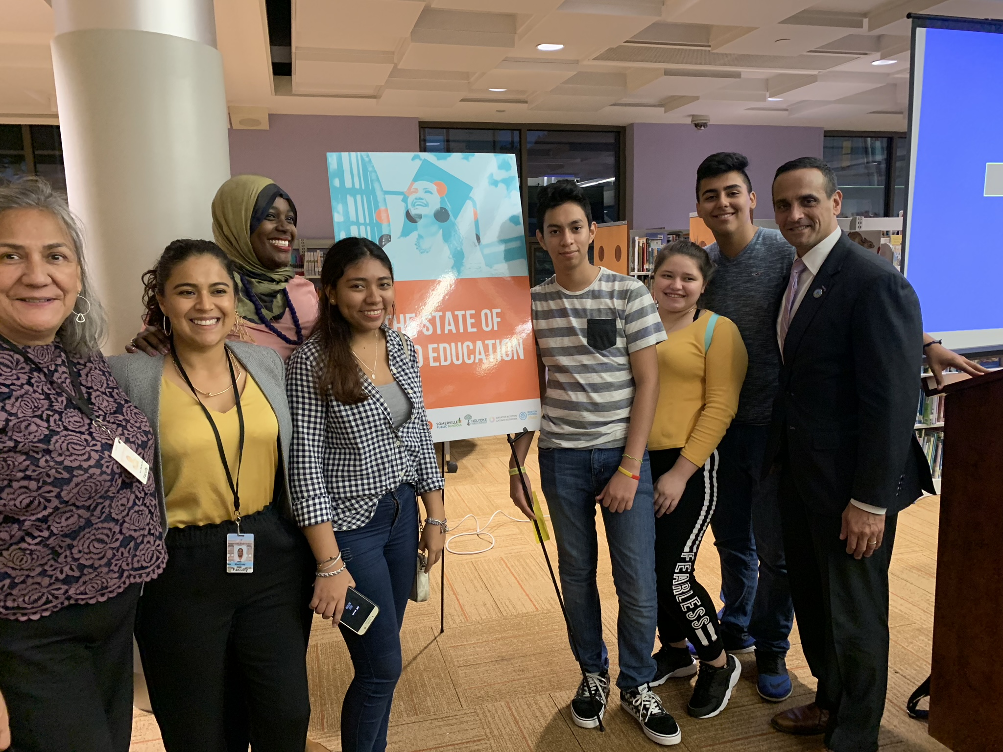 Enroot staff and students pictured with Somerville Mayor Curtatone before the Town Hall.