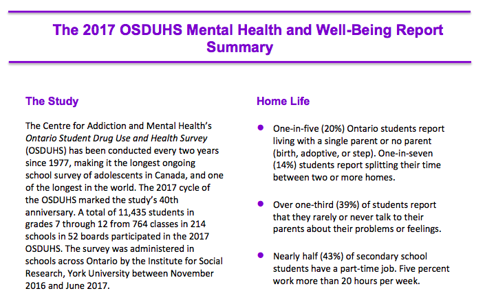 The Mental Health and Well-Being of Ontario Students -