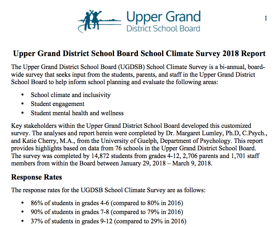 UGDSB — Climate Survey Report -
