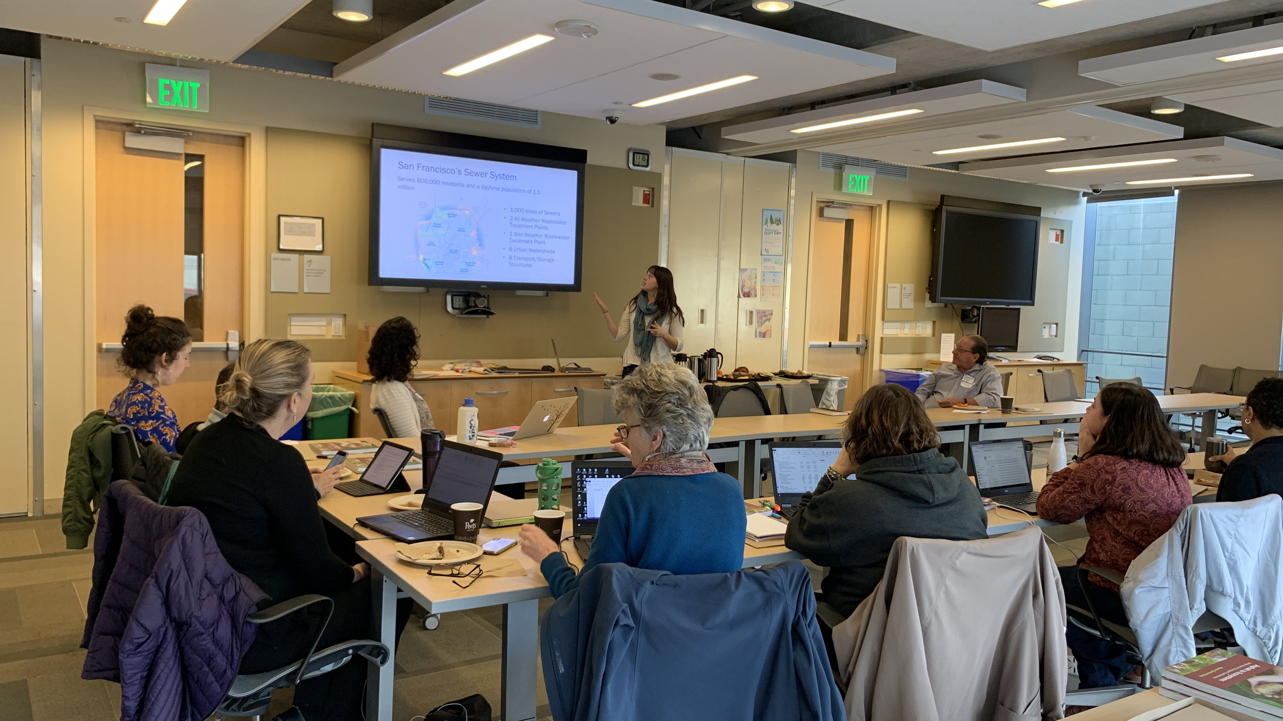 Sarah Bloom, a watershed planner with the San Francisco Public Utilities Commission, gave a presentation about stormwater schoolyards during the first Seminar of the 2019 Bay Area Principals' Institute.