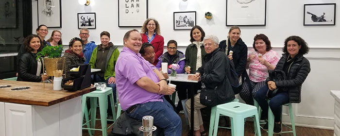 A lively gathering of green schoolyard colleagues from near and far—out for ice cream to continue our conversations after the conference!