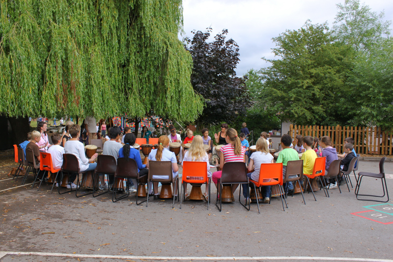 outdoor music lesson at the coombes school in England.