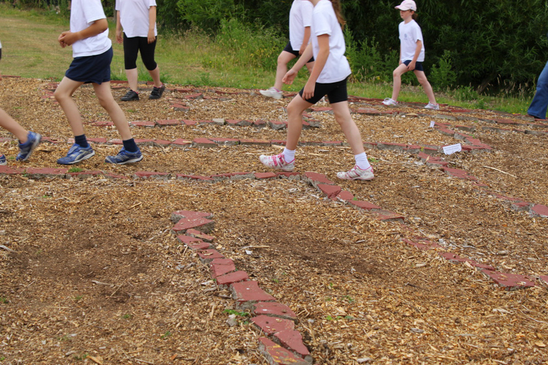 walking a labyrinth at the coombes school in england