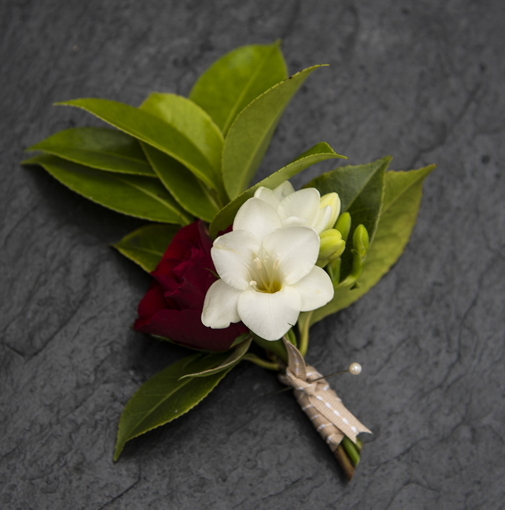 Red and white buttonhole