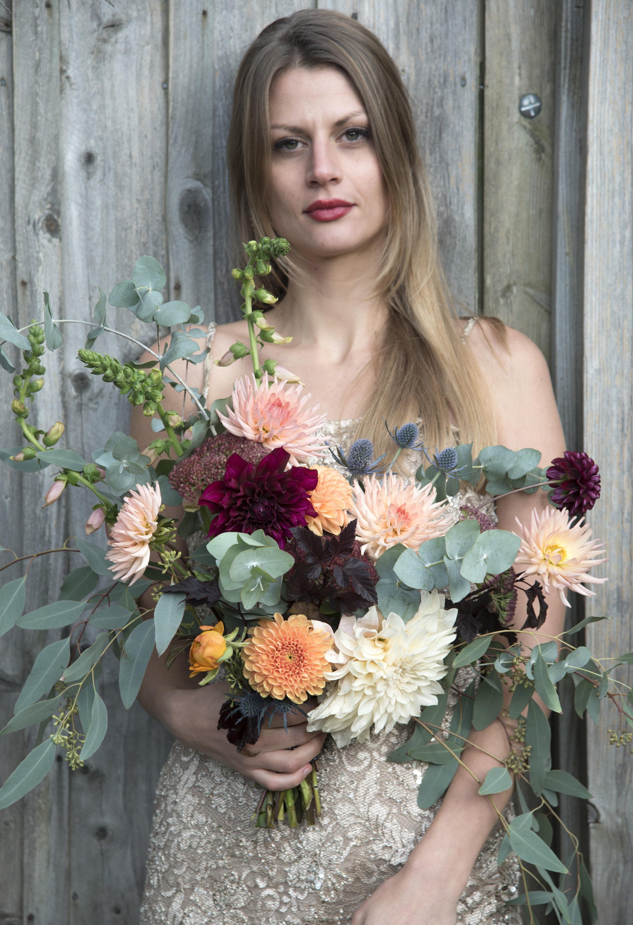 Autumn asymmetric bridal bouquet