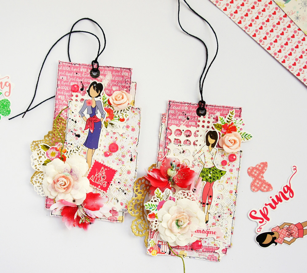 """""""The new Julie Nutting release is simply gorgeous! The die-cut packs make the work so much easier! I used them along with some beautiful papers in the Julie Nutting line to make these two tags."""" ~ Jaya"""