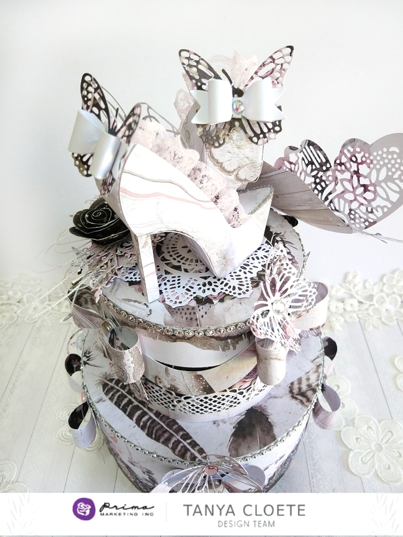 6Rose Quartz Two Tier Cake with Stilettos Topper.jpg