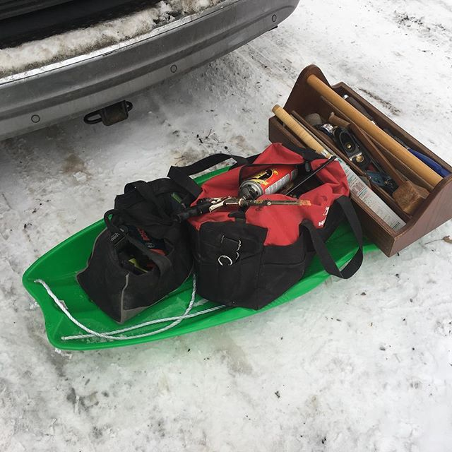 When your customers have a driveway that's too steep for your minivan... I thought ahead this time. Last time, I was the sled. . . . #puremichigan #winter #craftsman #woodworking #sledding