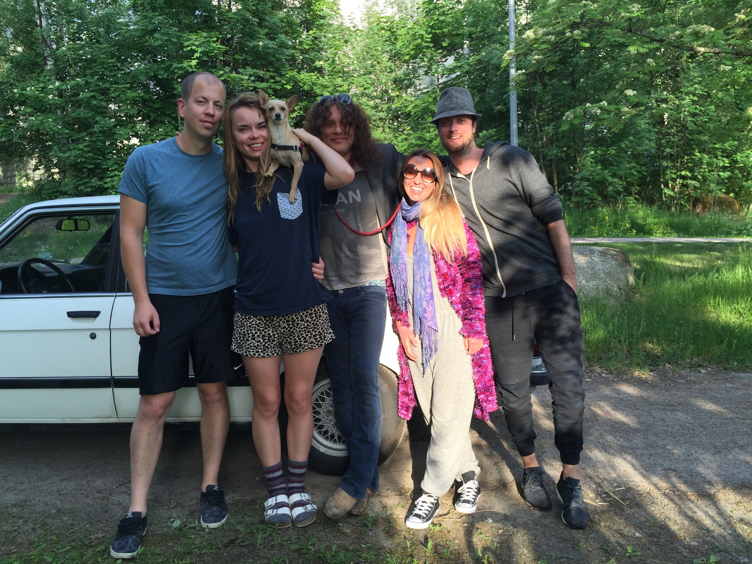 The tipsy gypsies saying goodbye to their Swedish Friends at 5am. Thank you Alex, Nora and Teemu!