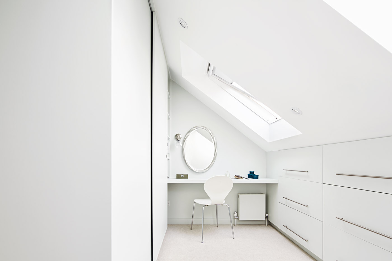 House C Dressing, Architecture, Interior design, London, Loft Extension, White Interiors, Modern, Elegant, Bonds Green