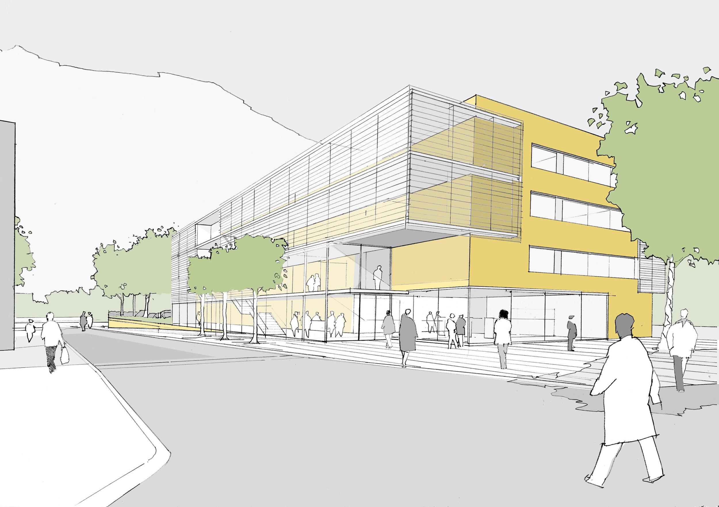 klinikumfrankfurt, persperktive, plan4architekten, munich, germanarchitecture, londonarchitect, visuals, handdrawings, newbuild, neebau, development, hospitalarchitecture