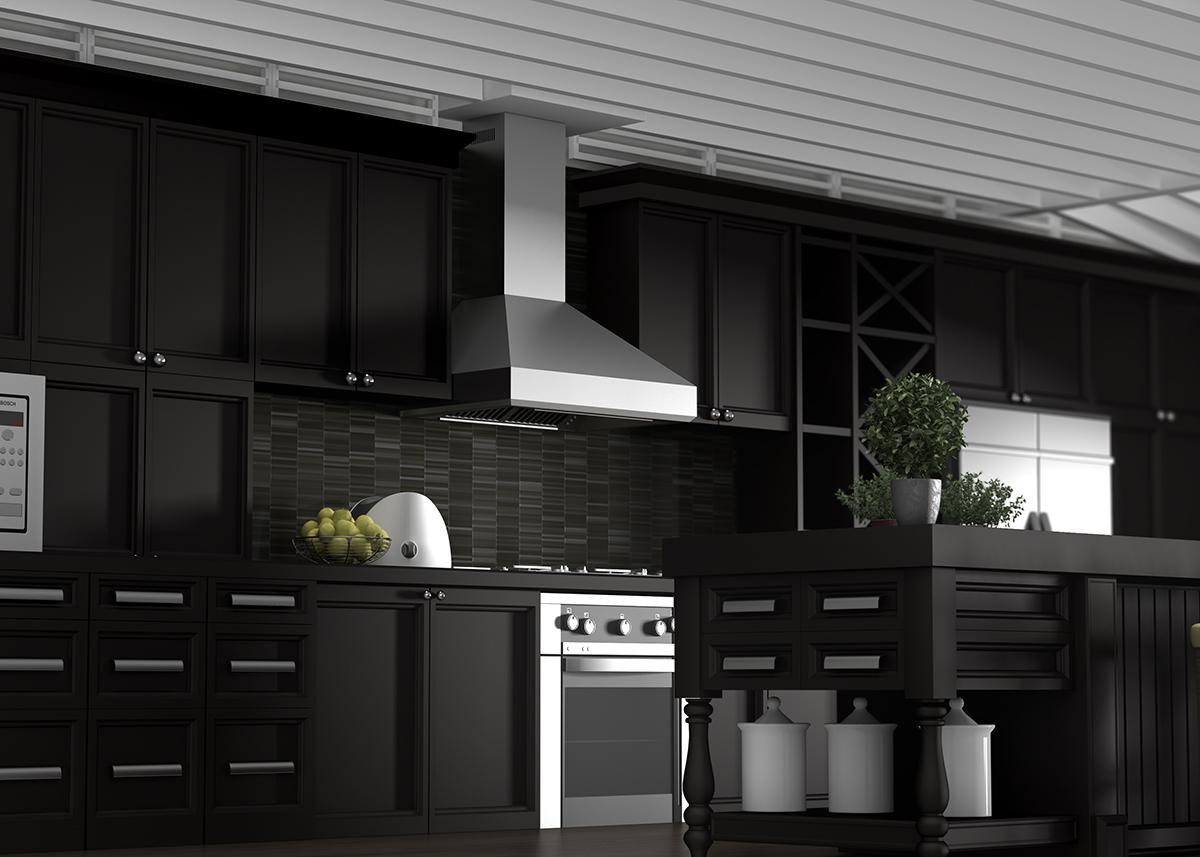 Black Kitchen Stainless Steel Hood