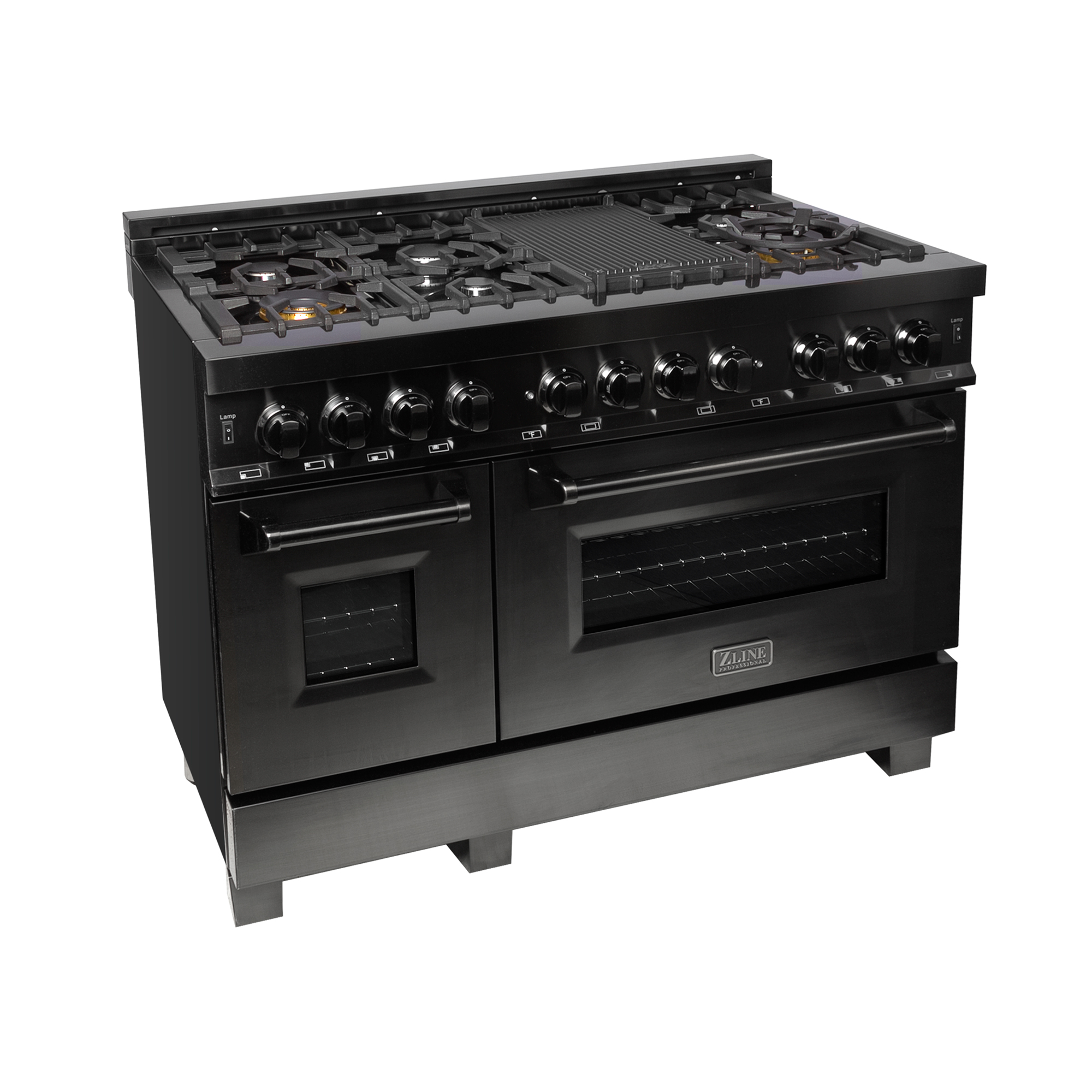 "48"" Black Stainless Steel Dual Fuel- Gas Range/Electric Oven"