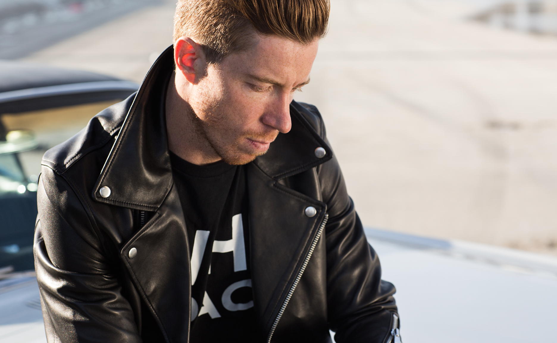 The WHT SPACE leather jacket is Shaun White favorite from the new mens clothing line.