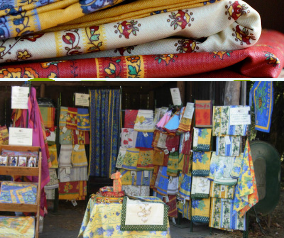 La Cigale - French Provencal tablecloths, runners, placemats, napkins, dishtowels, guest towels, round hand towels, bread baskets, All the fabrics are European, primarily French. All the designs are French. 60% of the cutting sewing is done in France. 40% is done in the Mount Gretna sewing shop. French milled soap from a very old soap mill in Salon de Provence, France.http://www.lacigale-usa.com