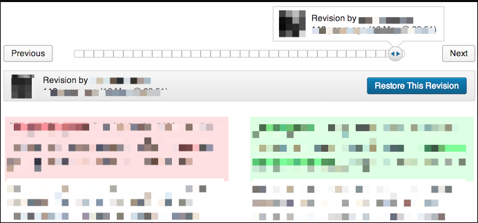 Revision History - Because it didn't affect the history we were able to revert to the previous version and show content exactly as it was before the hack.