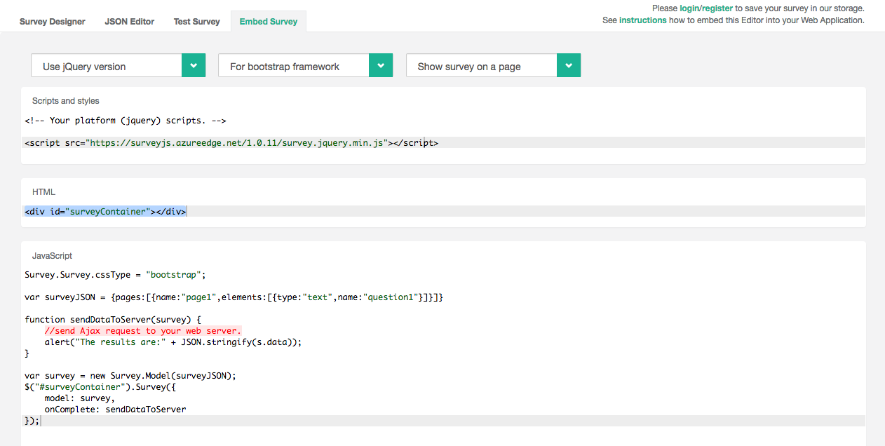 SurveyJS allows users to embed code very easily