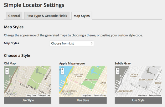 LocateWP Allows users to customize map styles