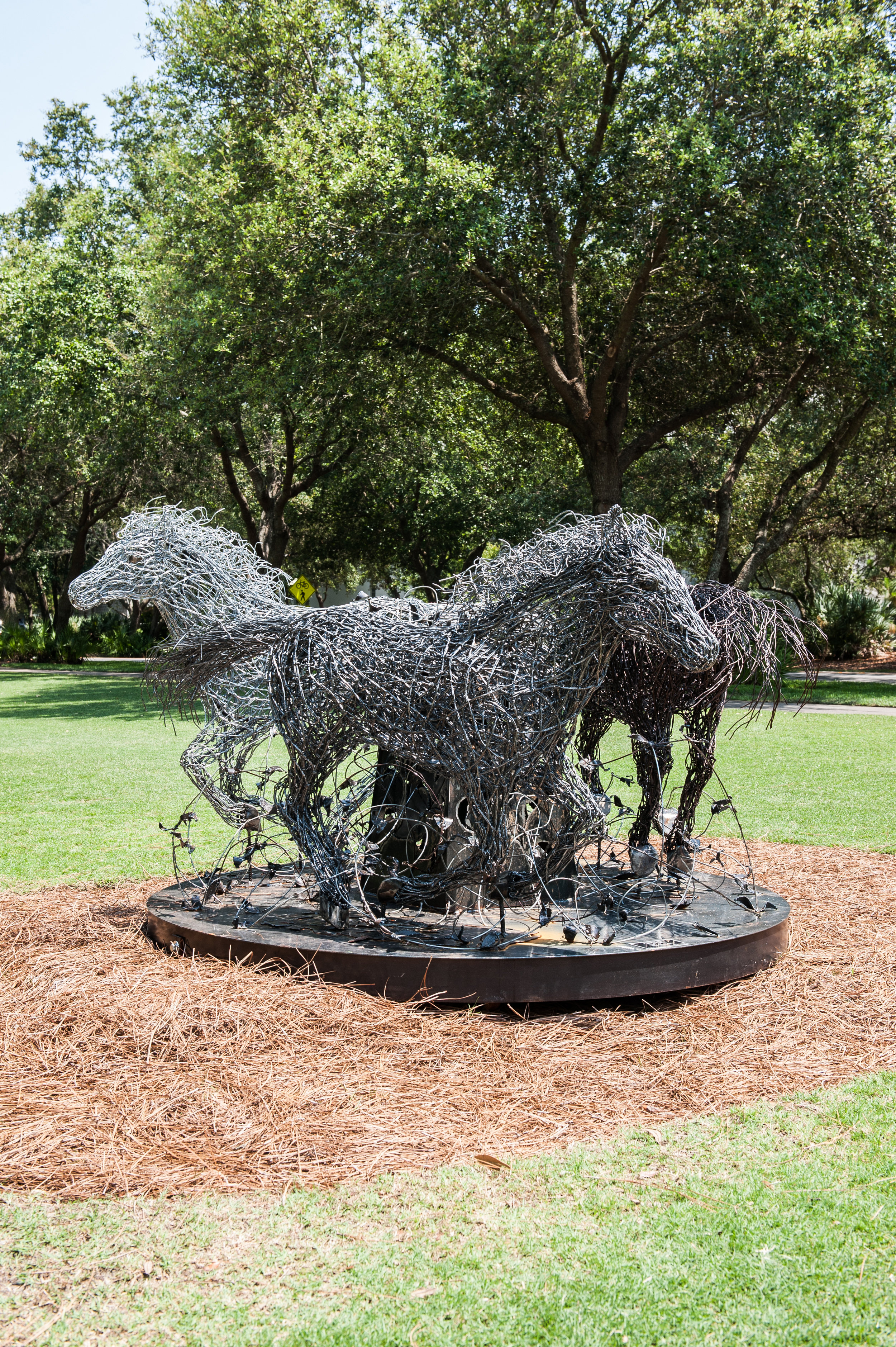 "- JEFF BESTb. 1961Clare, MichiganThe Race, 2018-19Wire6' wide circle$12,000The race might be an obvious title for running horses. All constructed by the same creator, using the same materials, in the same pose, all headed towards a common goal of success with one obvious difference . . . color, or ""the race"". To see color, three things must be present: LIGHT, OBJECT and OBSERVER. In a Race, we'll observe three things: COURAGE, SPEED, AND ENDURANCE. So, let's all embrace The Race regardless an obvious difference."