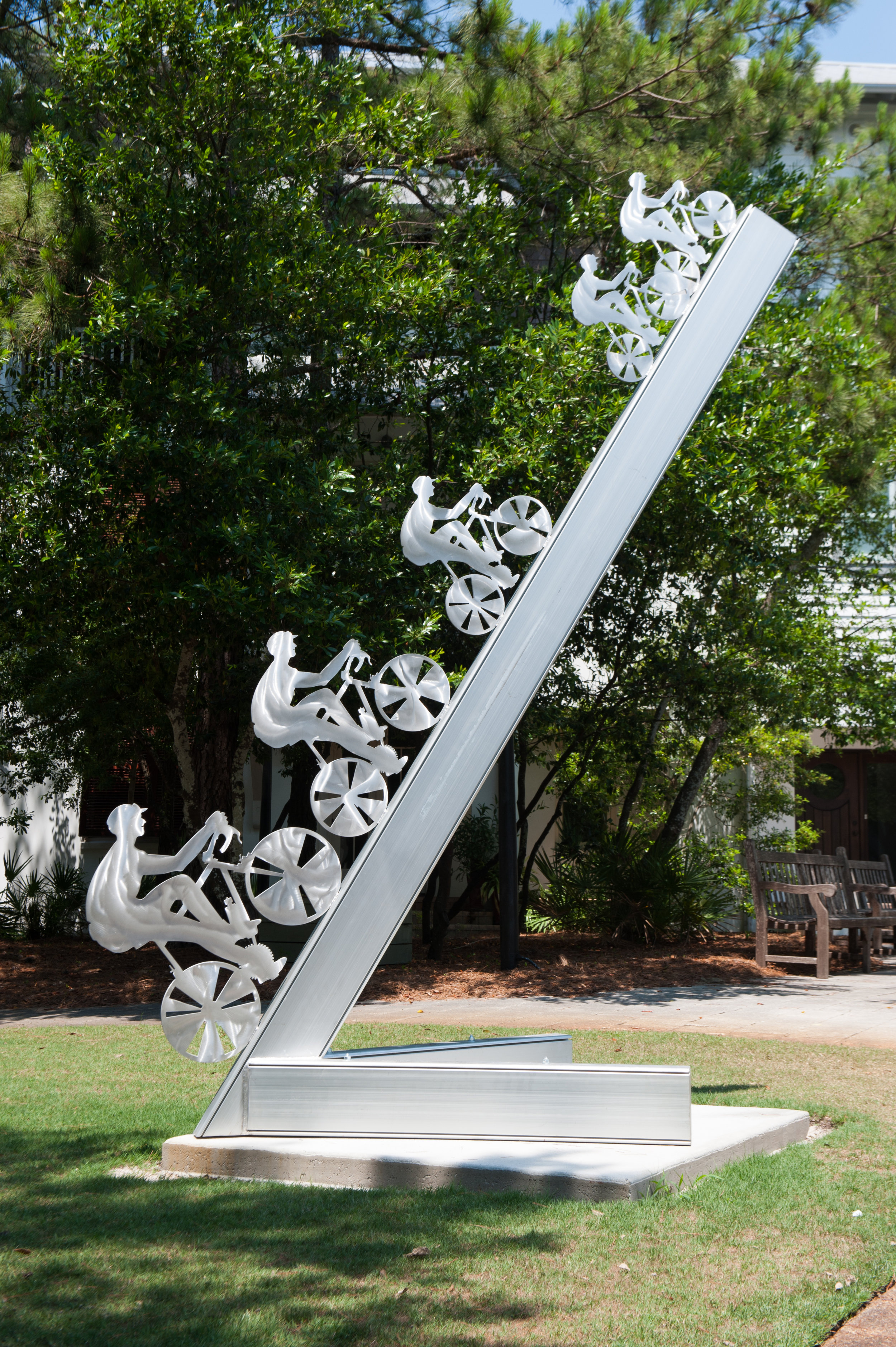 - JIM COLLINSb. 1934Signal Mountain, TennesseeHill Climb II, 2019Aluminum10' x 4' x 5'$12,500Hill Climb II is fabricated in aluminum and in the silhouette technique which characterizes all of my figurative sculpture, both people and animals.Each year, more and more cities are adding bike lanes and bike trails to the city landscape. This sculpture pays homage to this new green revelation in travel.