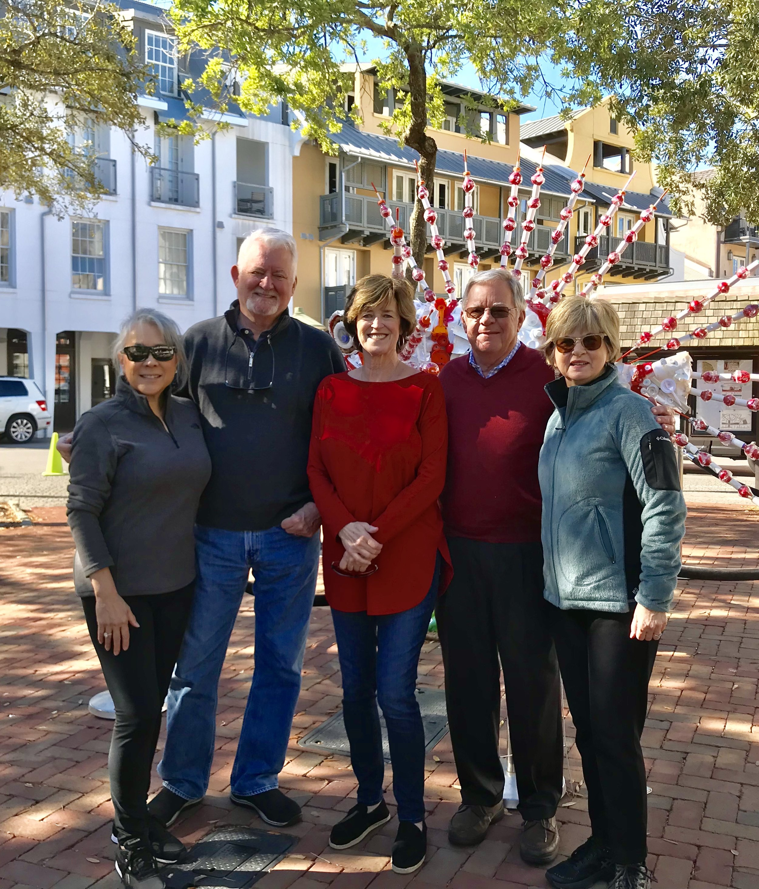 EARTH DAY, April 22, 2019. The Rosemary Beach Sculpture Exhibition Committee at the unveiling of  Invasive,  the Lionfish sculpture. Pictured above, from left, Victoria Lee, Lawrence Pugh, Linda Gifford, Project Director Thomas Kramer, and Marsha Aldridge King.