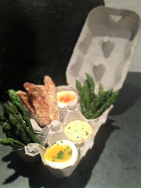 Great food served in an egg box