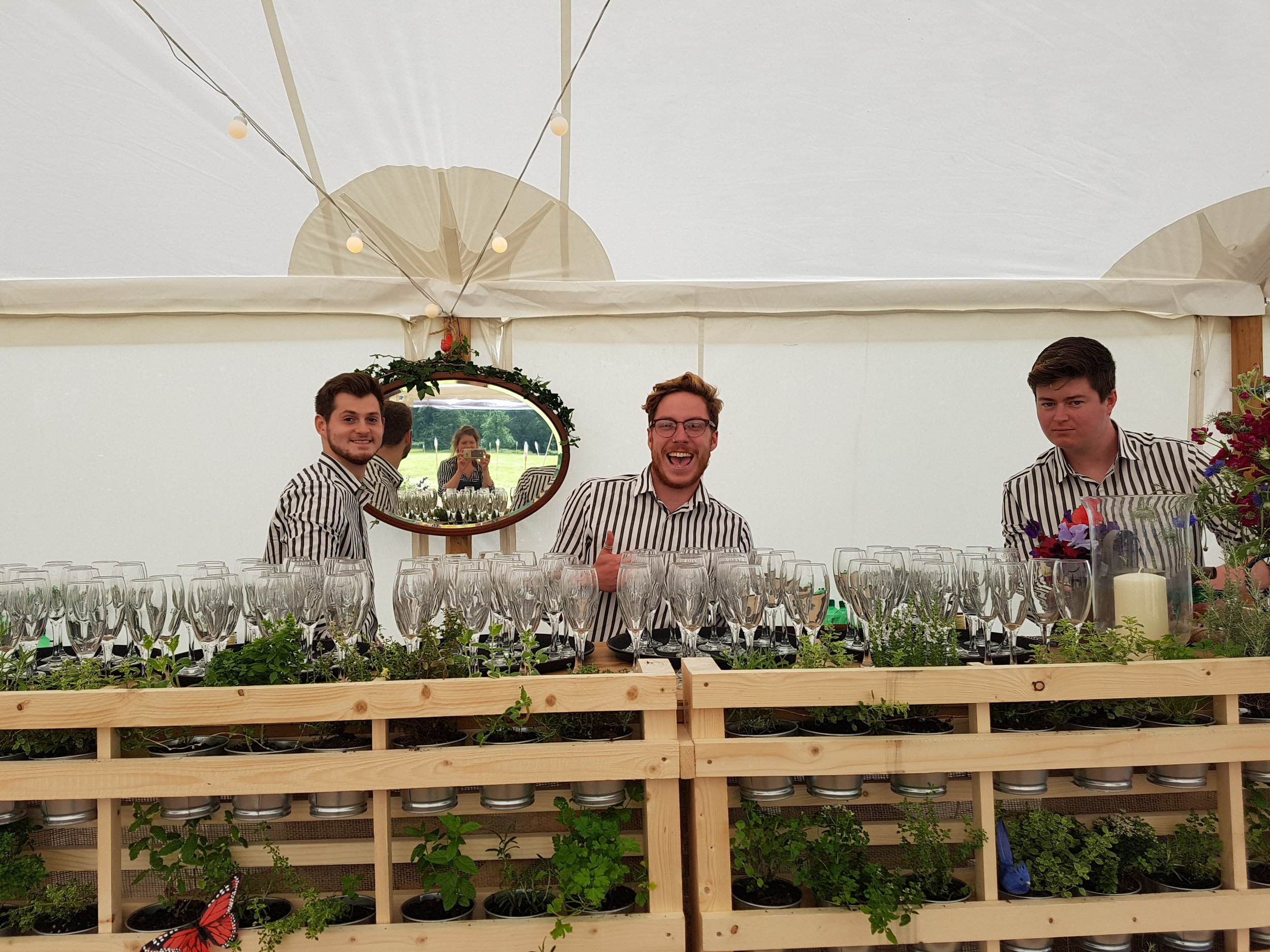 Bar Manager Jonno and his team getting ready for a champagne reception on Dartmoor.