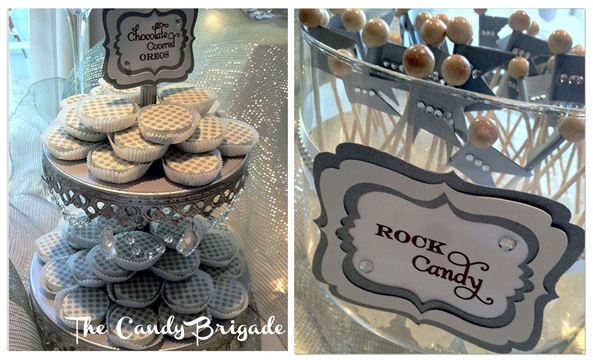 Candy Bar with Silver Opulent Treasures Tiered Cake Stand
