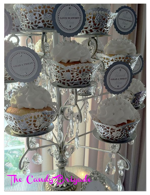 Silver Crystal Chandelier Cupcake Stand