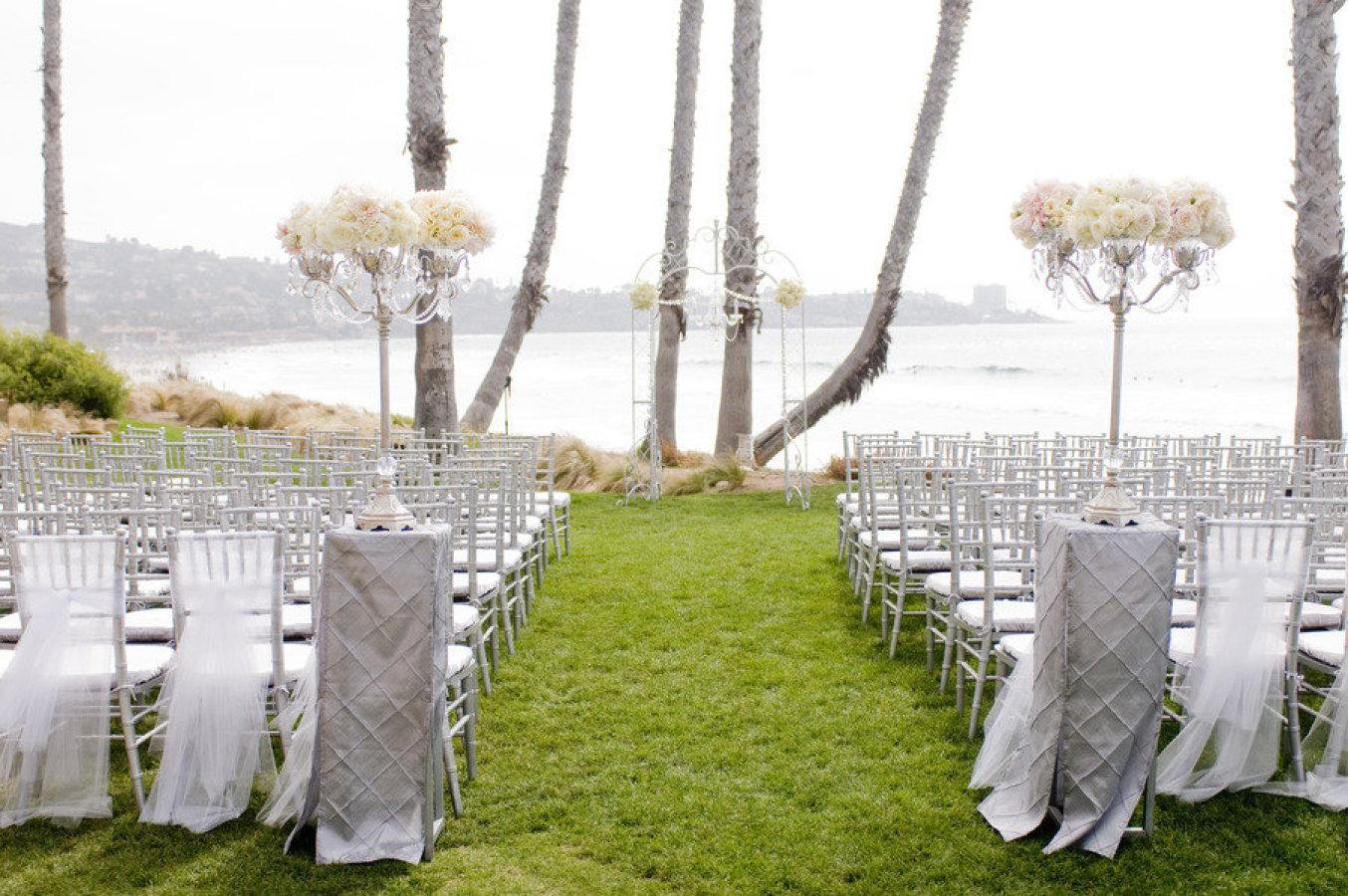 Outdoor Beach Wedding   Casablanca Candelabras with Flowers