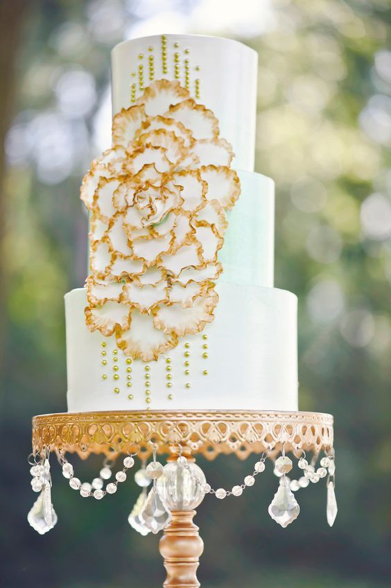 Gold Chandelier Ball Base Cake Stand   Opulent Treasures