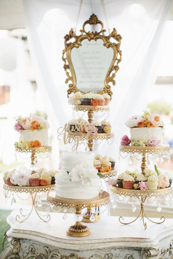 Dessert Table   Gold Chandelier Loopy Cake Plates   Opulent Treasures