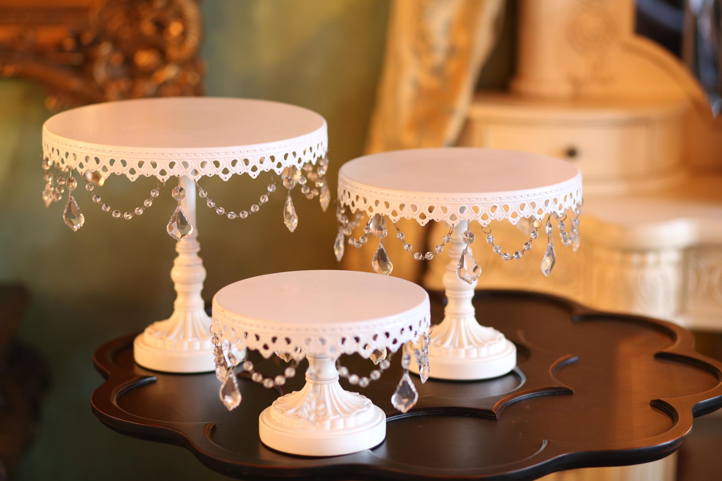 White Chandelier Cake Stands   Opulent Treasures