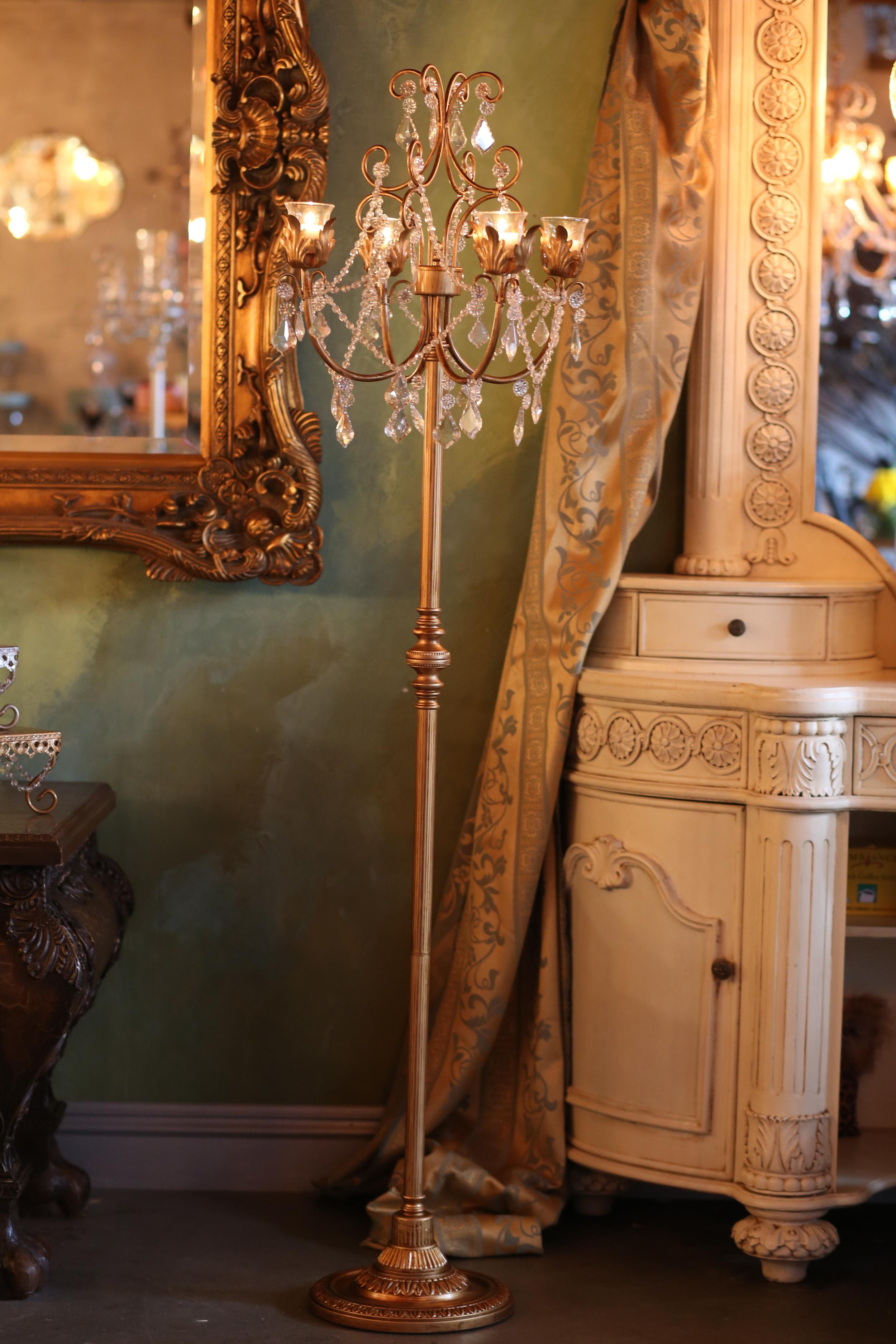 Floor 4 Taper Gold Chandelier Candelabra   Opulent Treasures