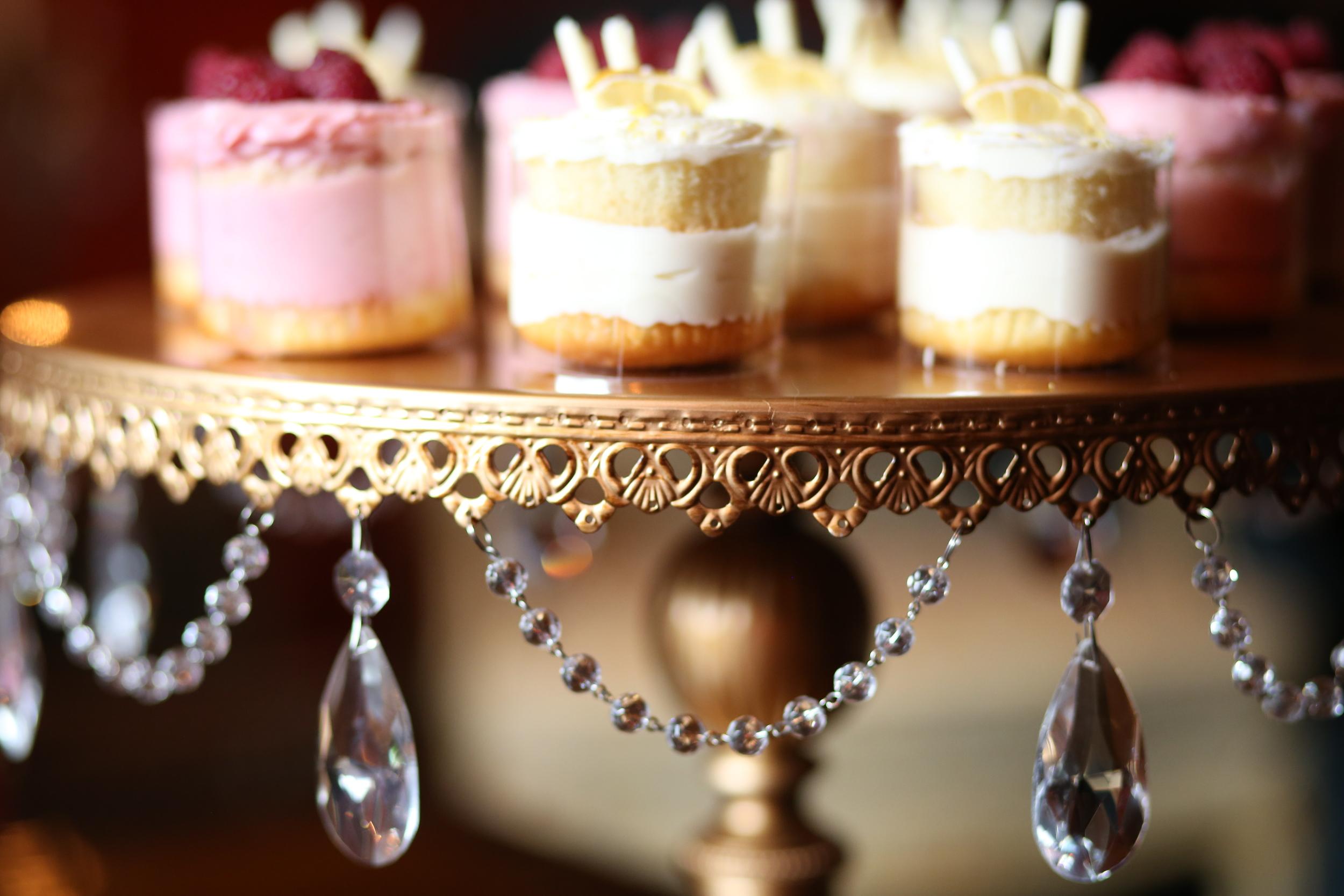 Round Gold chandelier cake stand   Opulent Treasures