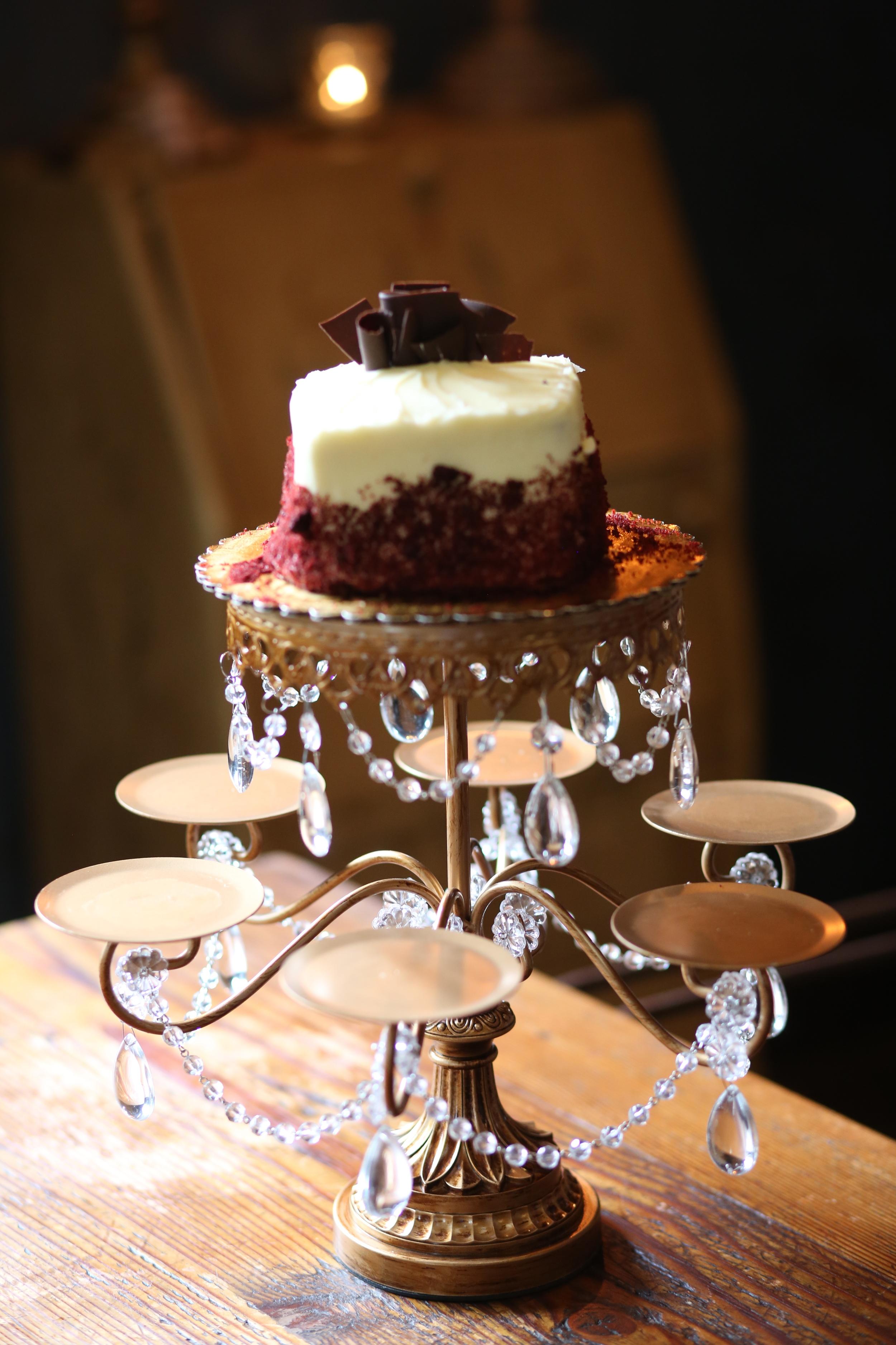Gold Chandelier Rosebud Dessert Stand   Opulent Treasures
