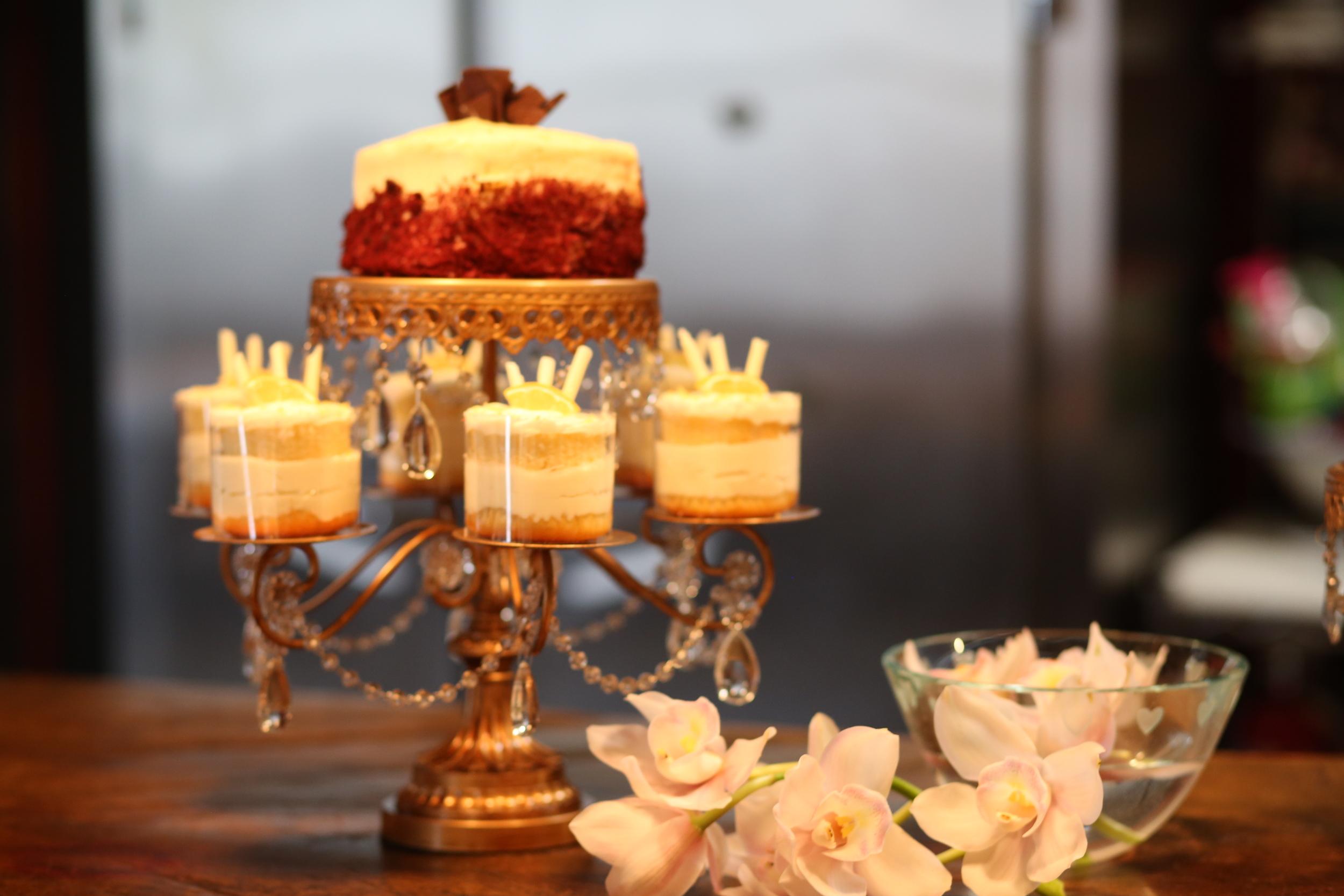 Entertaining   Gold Chandelier Rosebud Dessert Stand   Opulent Treasures