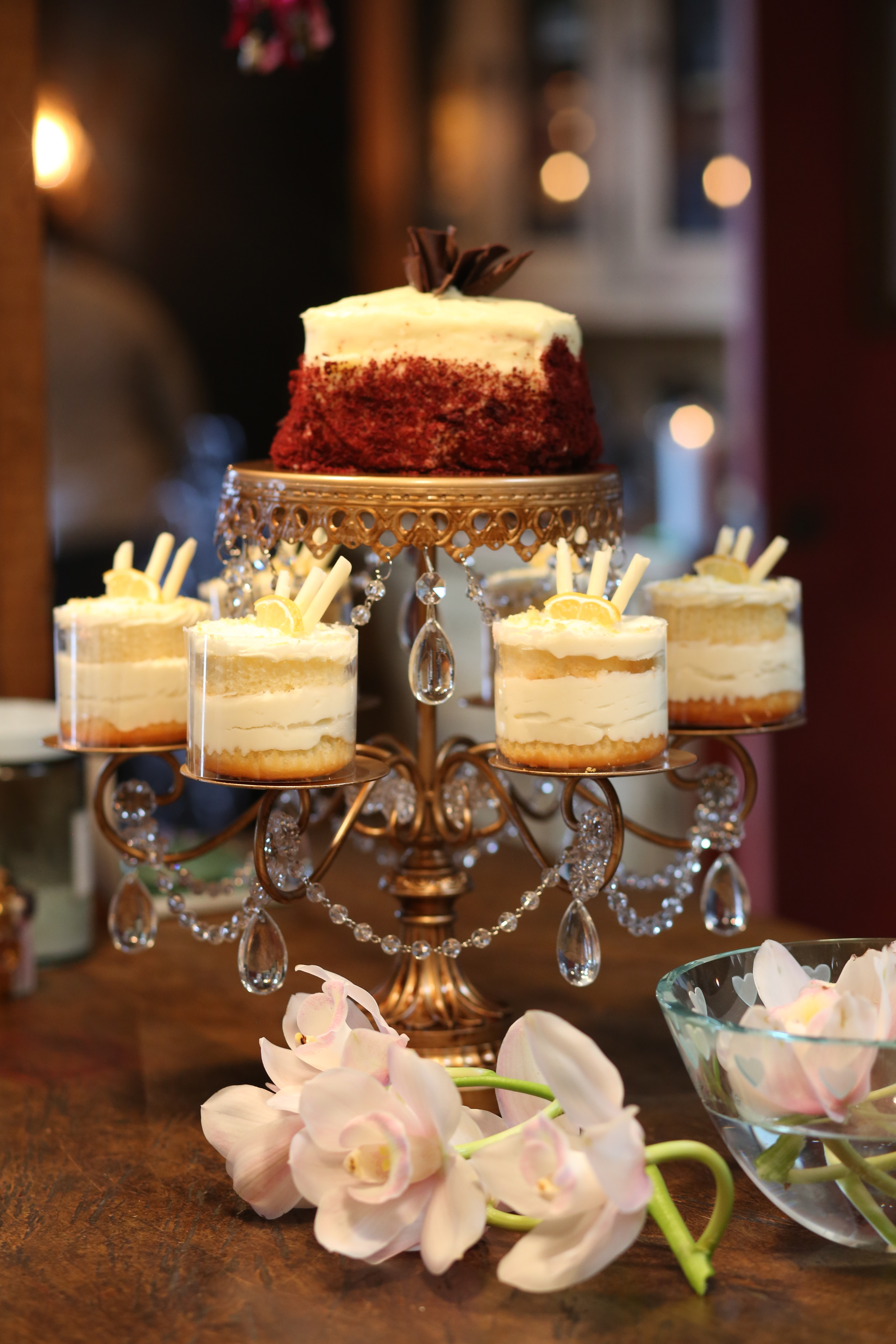 Dessert Table Ideas   Gold Chandelier Rosebud Dessert Stand