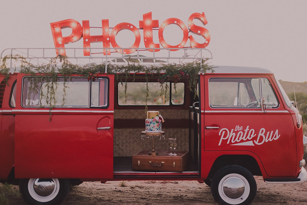 Vintage Photo Bus with Opulent Treasures Cake Stand