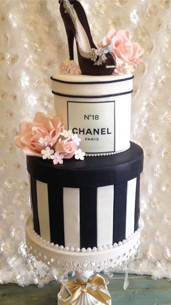 Chanel No 5 Cake   White Chandelier Cake Stand