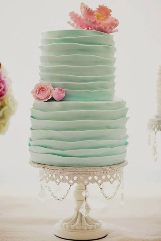 Mint Green Ruffled Frosting   White Cake stand