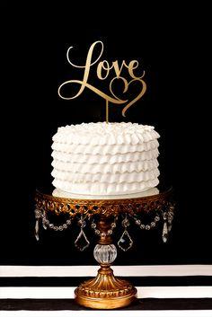 Chandelier Ball Base Gold Cake Stand   Love cake topper