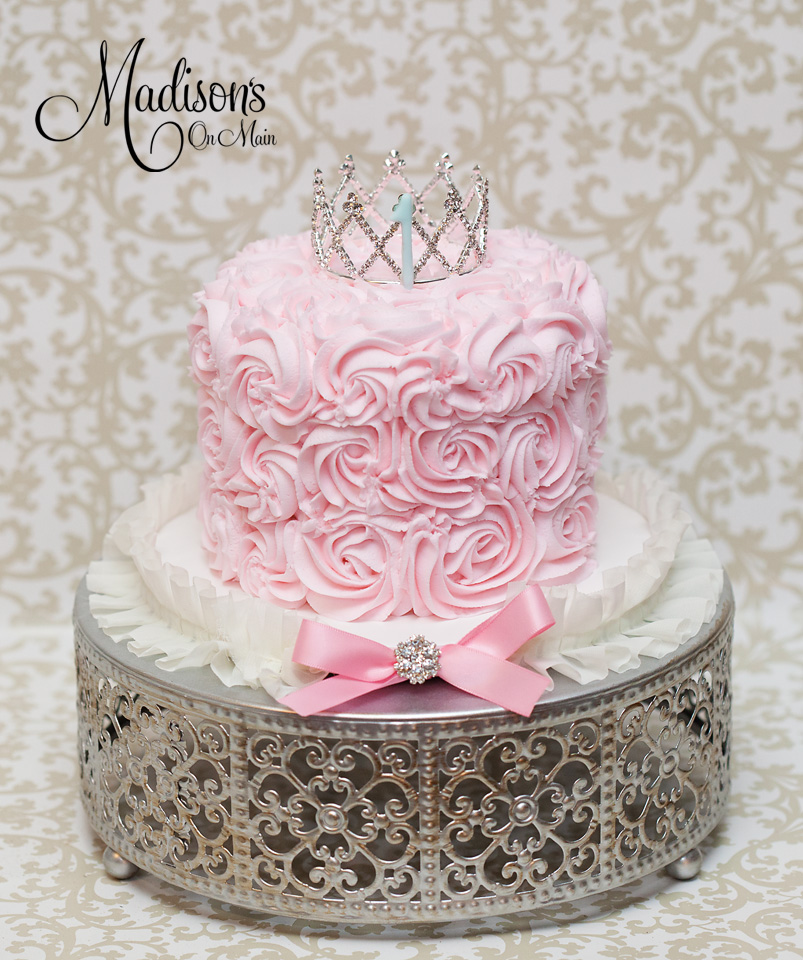 Cherry Blossom Silver Cake Stand   Rosette Frosting   Pink Princess Cake