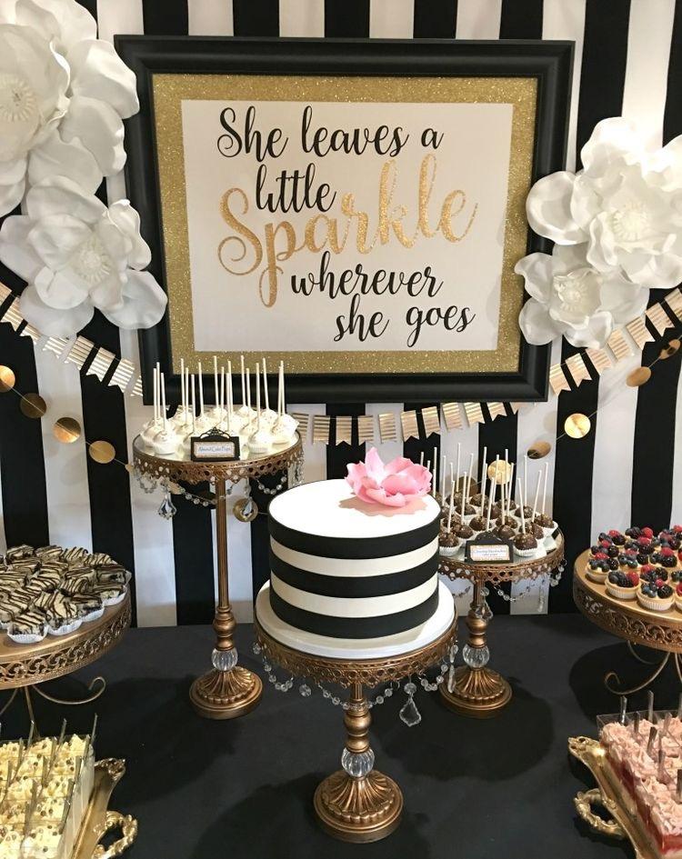 Dessert Table  Black & White   Gold Cake Stands