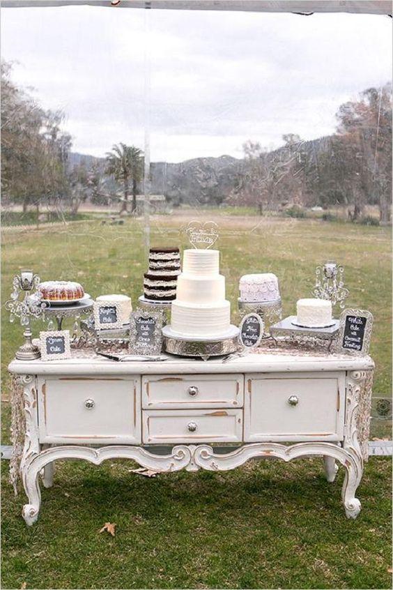 Vintage White Distressed Dresser Cake Table