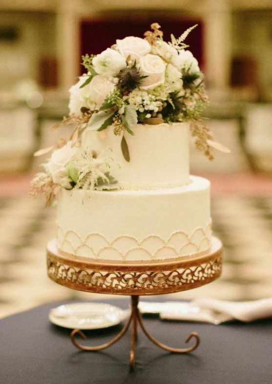 Gold Cake Stand   White Cake   Anemone Flowers