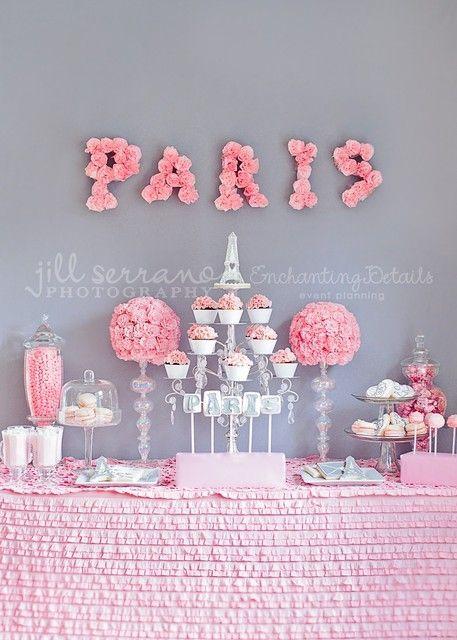 Paris Party Ideas   Pink & White Cupcakestand