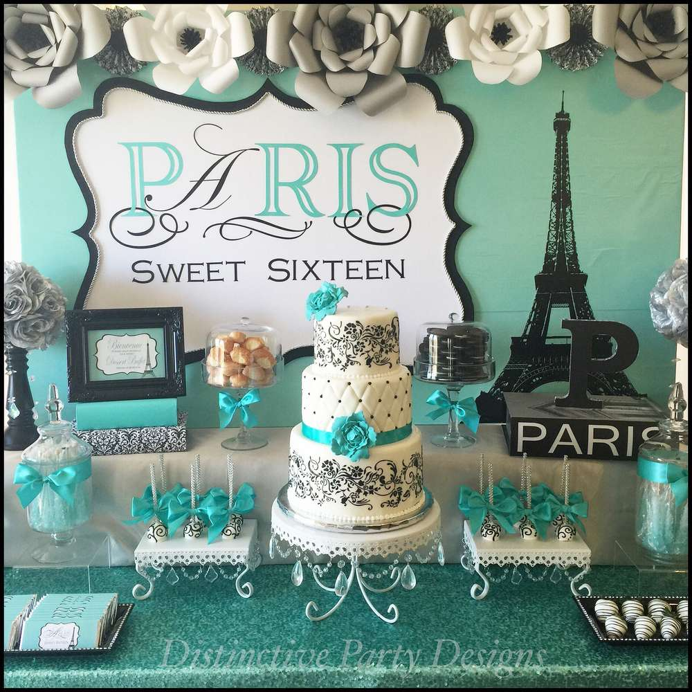 Sweet Sixteen   Paris   Tiffany Blue   White Cake Stands