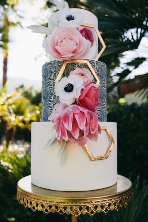 Modern Floral Cake  Pink, White, Black & Gold
