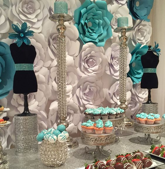 Blue, White & Silver Dessert Table